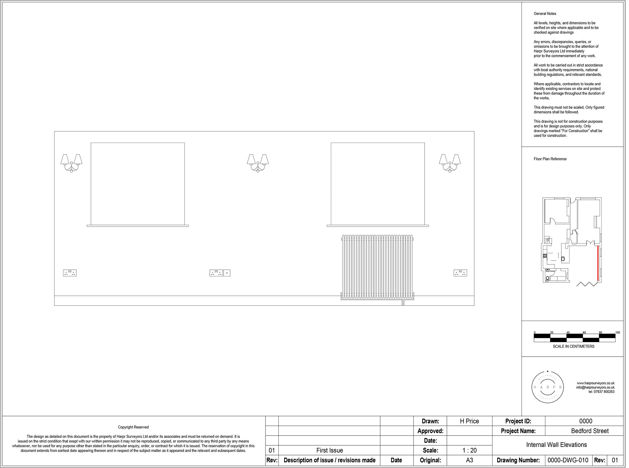 Bedford Street Hitchin Internal Wall Elevation Drawing